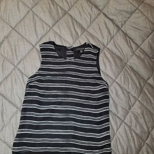 Banana Republic Button Back Black Striped Shell XS